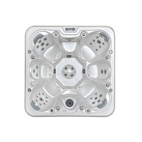 vířivá vana ve tvaru čtverce HC6 pro 8 osob je vybavena také barevné LED osvětlení, anatomické opěrky hlavy, RX trysky, vodopád,