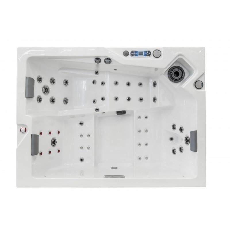 luxusní vířivka spa OK2 NEPHRITE pro 3 osoby má vodopád, řídicí systém, titanový ohřev vody, termokryt