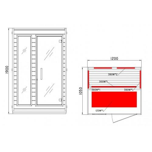 rozměry domácí infrasauny CONSTANCE+ INFRASAUNA pro 2 osoby