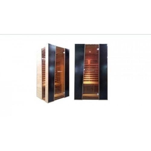krásná infrasauna a PARIS INFRASAUNA má přední stěny ze skla s kouřovým efektem a šikmou hranou dveří