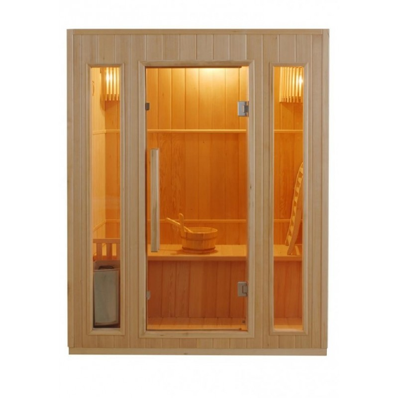 ZEN 3 Finská sauna pro tři osoby je svou velikostí vhodná až pro 3 osoby a její kabina je vyrobena z kvalitního dřeva kanadskéh