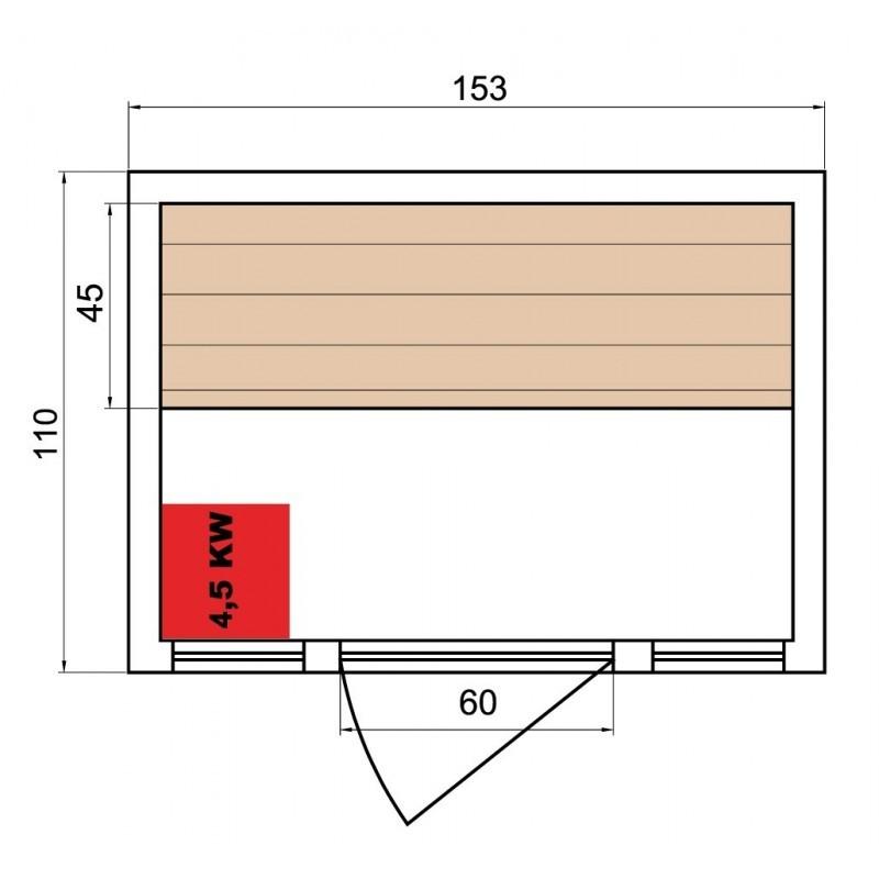 elegantní ZEN 3 Finská sauna pro tři osoby má vnější rozměry: výška 191 cm, šířka: 153 cm, hloubka: 110 cm
