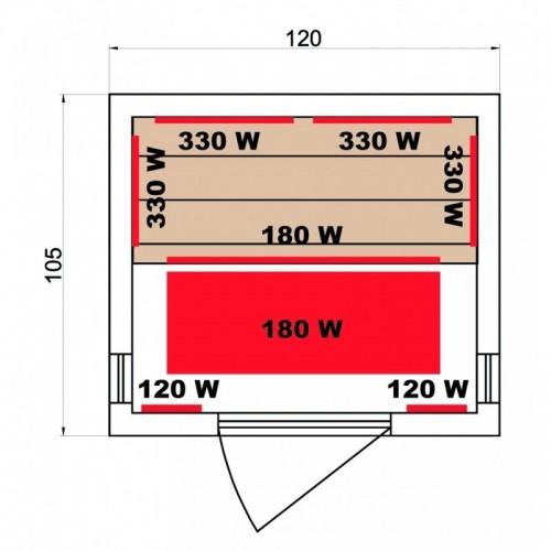 rozměry sauny LUXE 2 Infrasauna