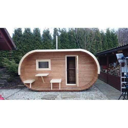 stylová finská Oválná sauna 400 její velikou výhodou je snadná instalace a snadné umístění