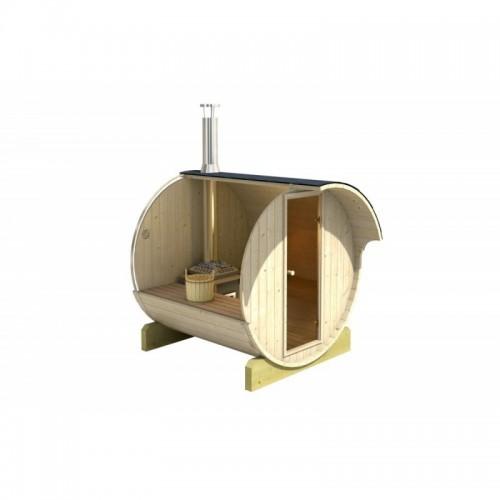 finská sudová sauna 220 je zhotovená z kvalitních materiálů, konkrétně ze severského smrku