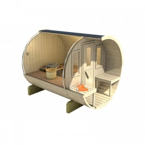 stylová finská Sudová sauna 280 Thermowood její velikou výhodou je snadná instalace a snadné umístění