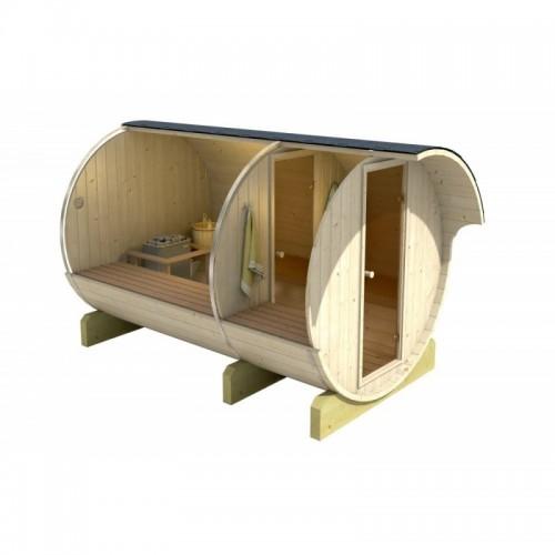 finská venkovní Sudová sauna 330 Thermowood se vyrábí ze severského smrku, který má oproti klasickému vyšší hustotu dřeva a odol