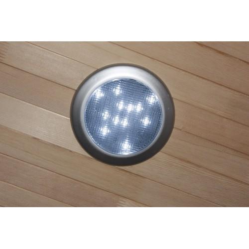 domácí sauna SYDNEY CEDR 2+ INFRASAUNA má povrch dřeva asi 5 cm tlustý, má spíše světlou barvu, někdy i bílou