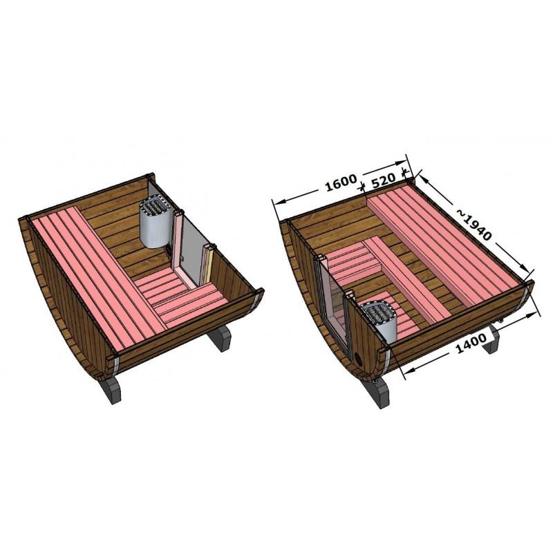 sudová venkovní sauna 160 - průřez a rozměry